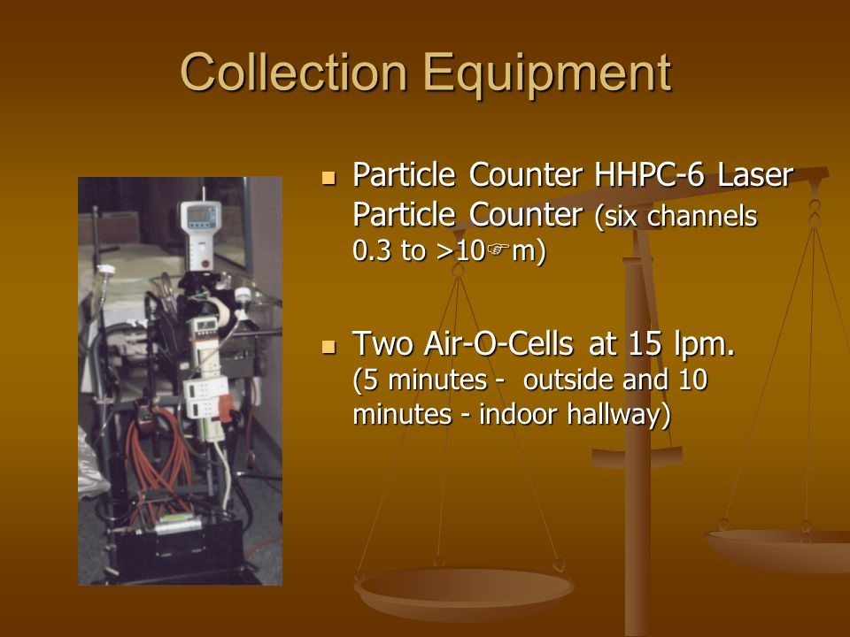 Collection Equipment Particle Counter HHPC-6 Laser Particle Counter (six channels 0.3 to >10 F m) Two Air-O-Cells at 15 lpm. (5 minutes - outside and