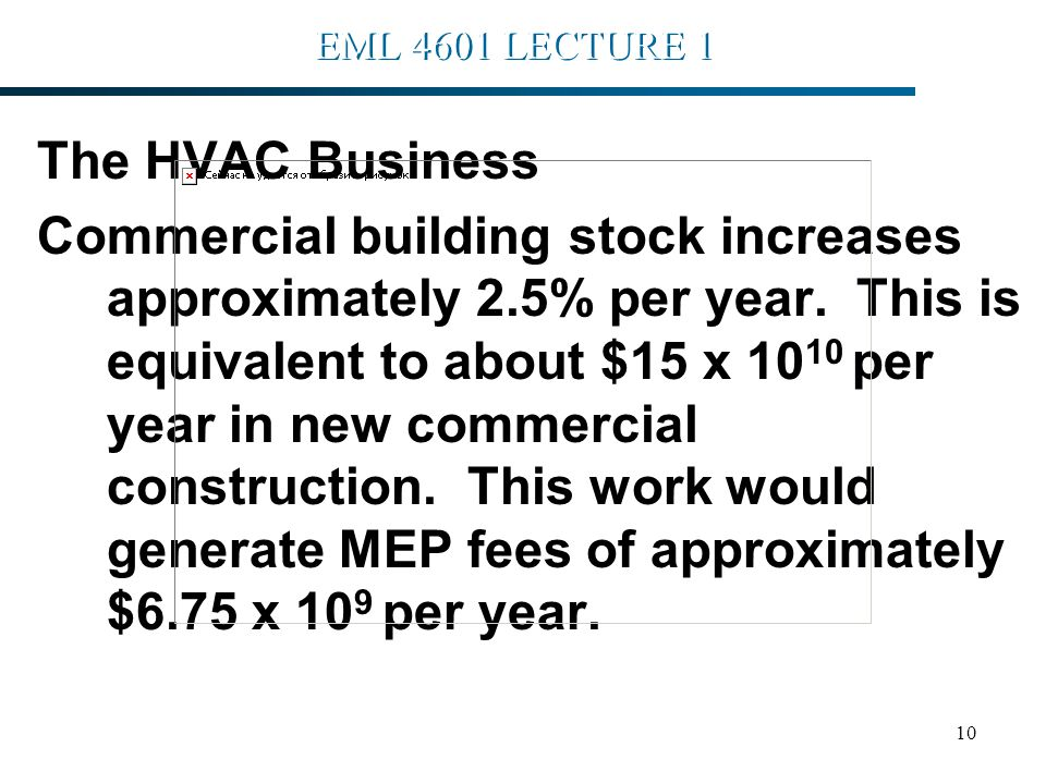 10 EML 4601 LECTURE 1 The HVAC Business Commercial building stock increases approximately 2.5% per year.