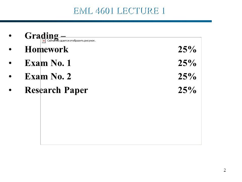 2 EML 4601 LECTURE 1 Grading – Homework 25% Exam No. 125% Exam No. 2 25% Research Paper25% H. A... Ingley PhD,PE