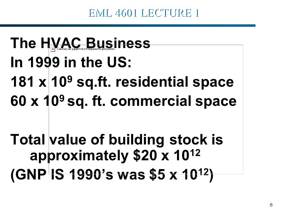 7 EML 4601 LECTURE 1 The HVAC Business The value of Mechanical, electrical and mechanical systems supporting this stock would be approximately $5 x 10 12 H.