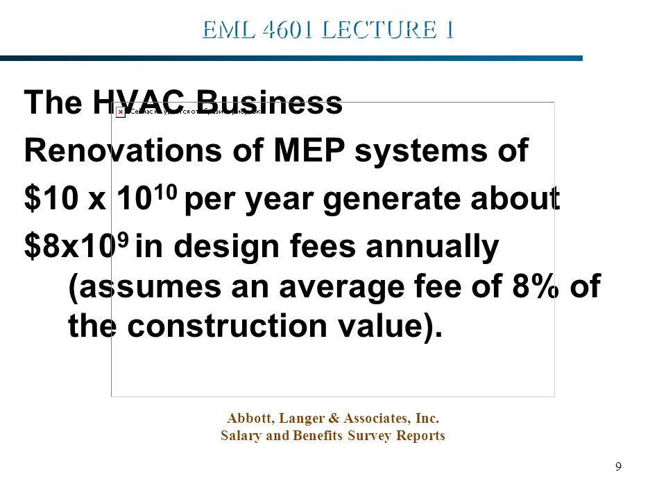 9 EML 4601 LECTURE 1 The HVAC Business Renovations of MEP systems of $10 x 10 10 per year generate about $8x10 9 in design fees annually (assumes an average fee of 8% of the construction value).