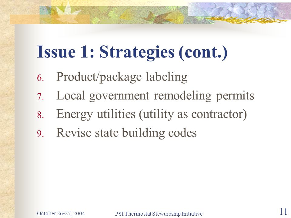 October 26-27, 2004 PSI Thermostat Stewardship Initiative 11 Issue 1: Strategies (cont.) 6.