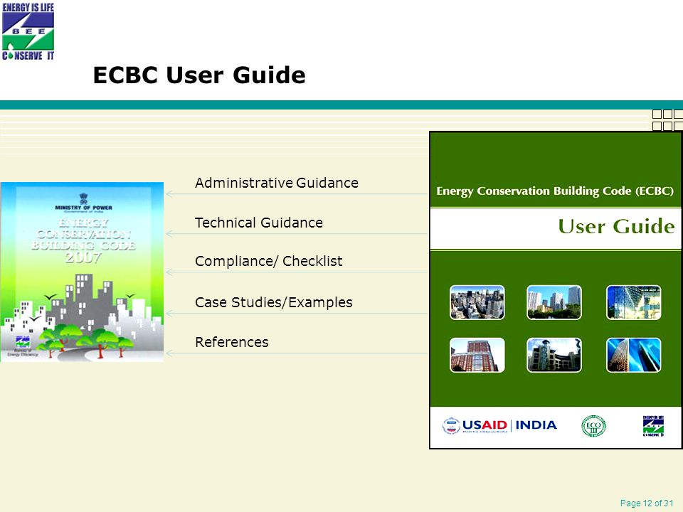 Page 12 of 31 Administrative Guidance Technical Guidance Compliance/ Checklist Case Studies/Examples References ECBC User Guide
