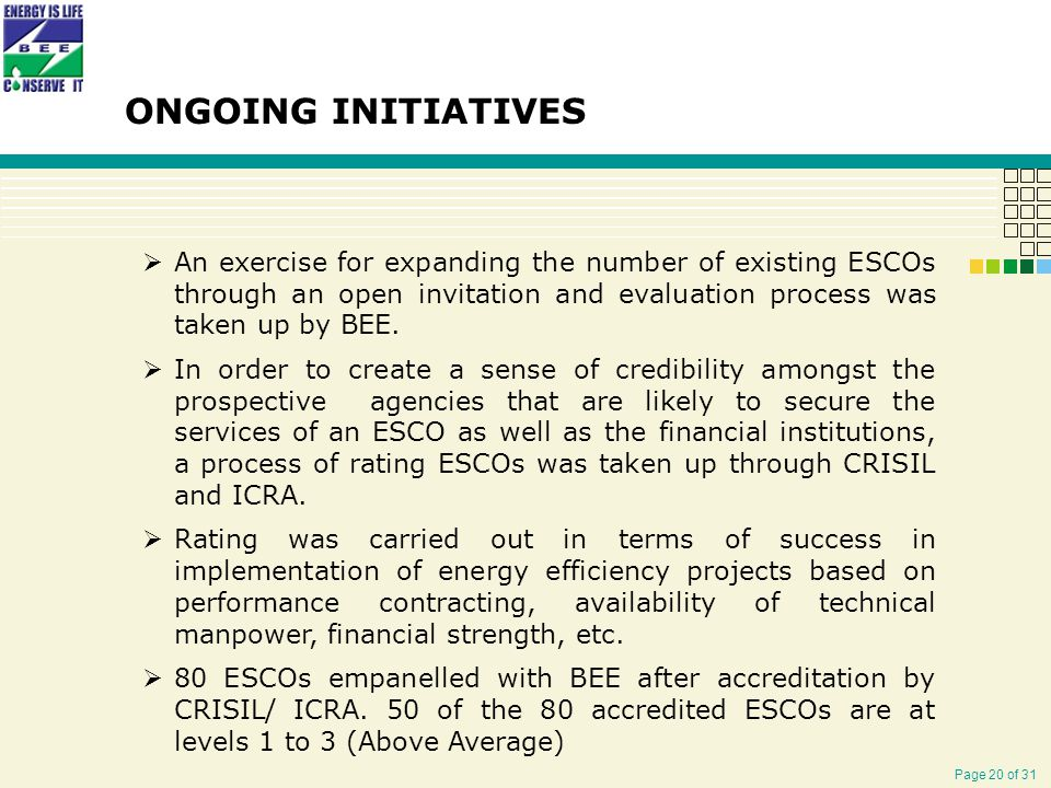Page 20 of 31 ONGOING INITIATIVES  An exercise for expanding the number of existing ESCOs through an open invitation and evaluation process was taken up by BEE.