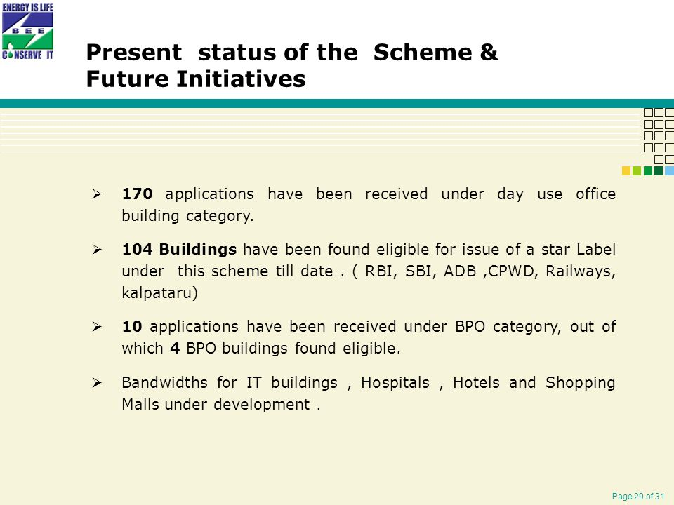 Page 29 of 31 Present status of the Scheme & Future Initiatives  170 applications have been received under day use office building category.