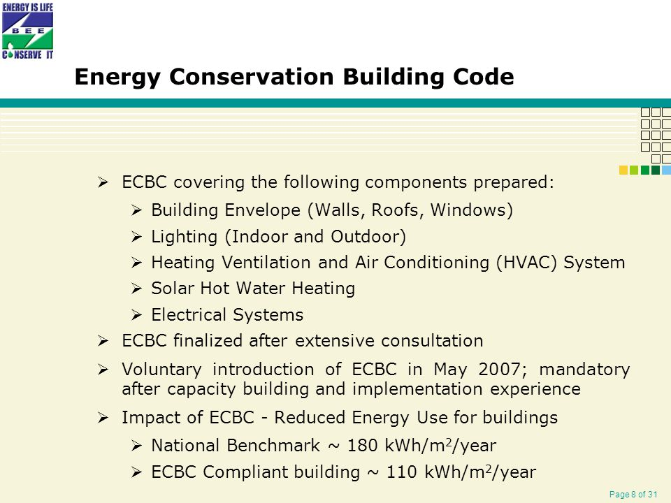 Page 8 of 31 Energy Conservation Building Code  ECBC covering the following components prepared:  Building Envelope (Walls, Roofs, Windows)  Lighting (Indoor and Outdoor)  Heating Ventilation and Air Conditioning (HVAC) System  Solar Hot Water Heating  Electrical Systems  ECBC finalized after extensive consultation  Voluntary introduction of ECBC in May 2007; mandatory after capacity building and implementation experience  Impact of ECBC - Reduced Energy Use for buildings  National Benchmark ~ 180 kWh/m 2 /year  ECBC Compliant building ~ 110 kWh/m 2 /year