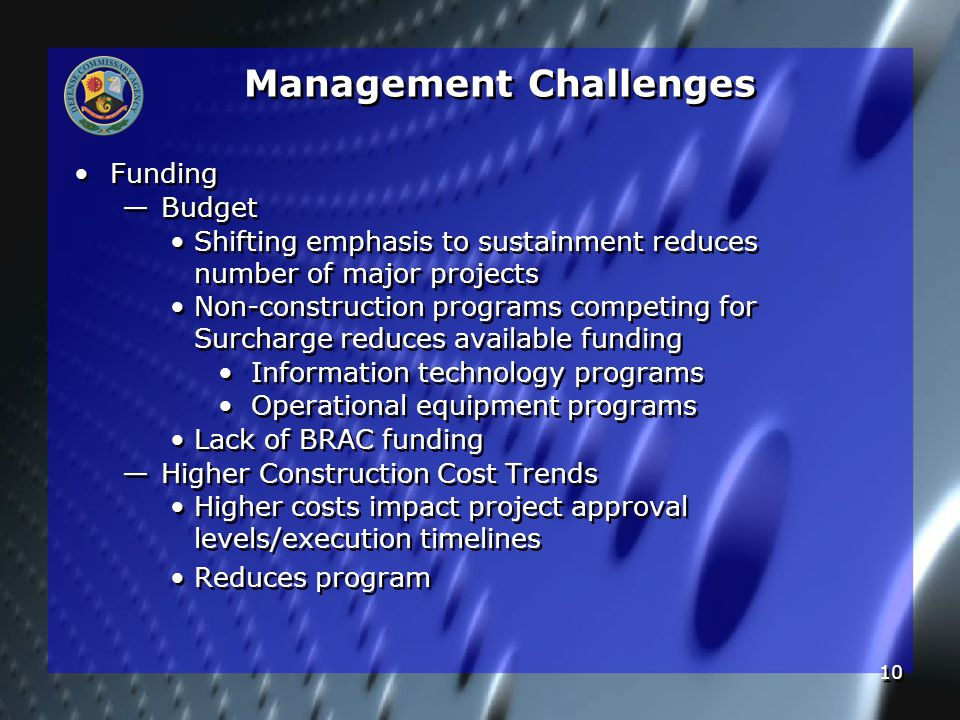 10 Management Challenges Funding — — Budget Shifting emphasis to sustainment reduces number of major projects Non-construction programs competing for Surcharge reduces available funding Information technology programs Operational equipment programs Lack of BRAC funding — — Higher Construction Cost Trends Higher costs impact project approval levels/execution timelines Reduces program Funding — — Budget Shifting emphasis to sustainment reduces number of major projects Non-construction programs competing for Surcharge reduces available funding Information technology programs Operational equipment programs Lack of BRAC funding — — Higher Construction Cost Trends Higher costs impact project approval levels/execution timelines Reduces program