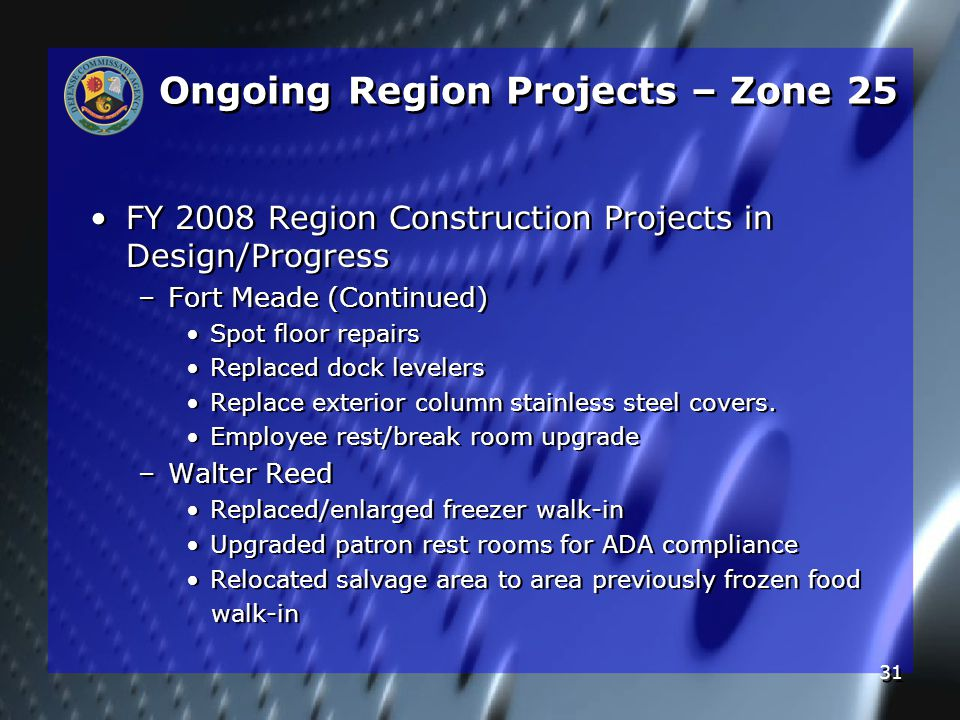 31 Ongoing Region Projects – Zone 25 FY 2008 Region Construction Projects in Design/Progress – –Fort Meade (Continued) Spot floor repairs Replaced dock levelers Replace exterior column stainless steel covers.