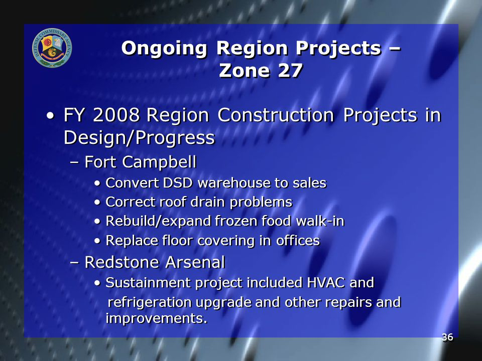 36 Ongoing Region Projects – Zone 27 FY 2008 Region Construction Projects in Design/Progress – –Fort Campbell Convert DSD warehouse to sales Correct roof drain problems Rebuild/expand frozen food walk-in Replace floor covering in offices – –Redstone Arsenal Sustainment project included HVAC and refrigeration upgrade and other repairs and improvements.