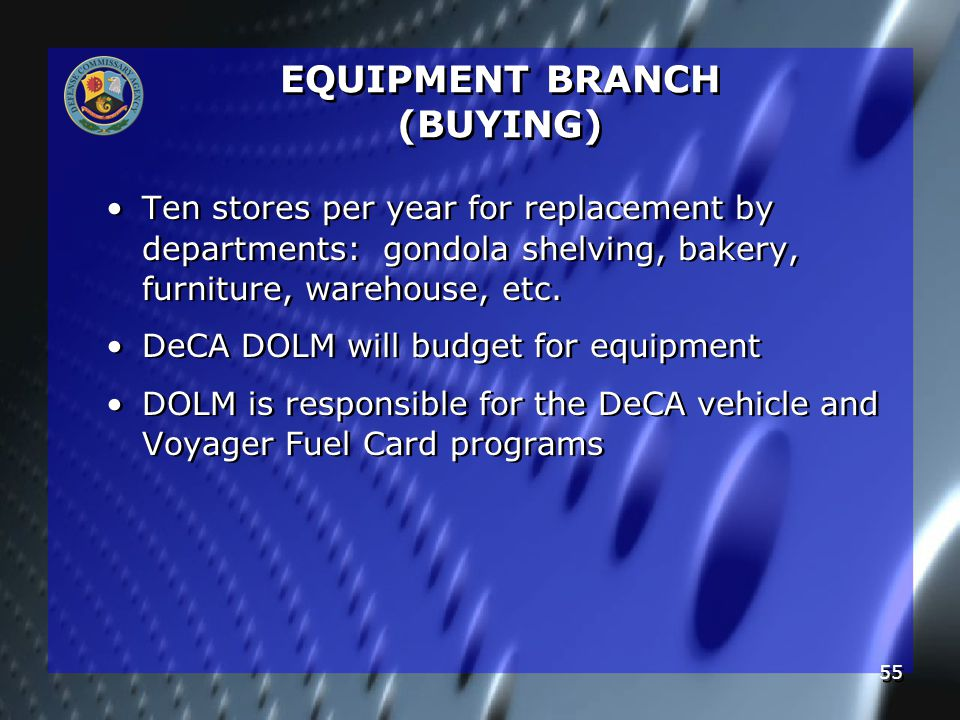 55 EQUIPMENT BRANCH (BUYING) Ten stores per year for replacement by departments: gondola shelving, bakery, furniture, warehouse, etc.