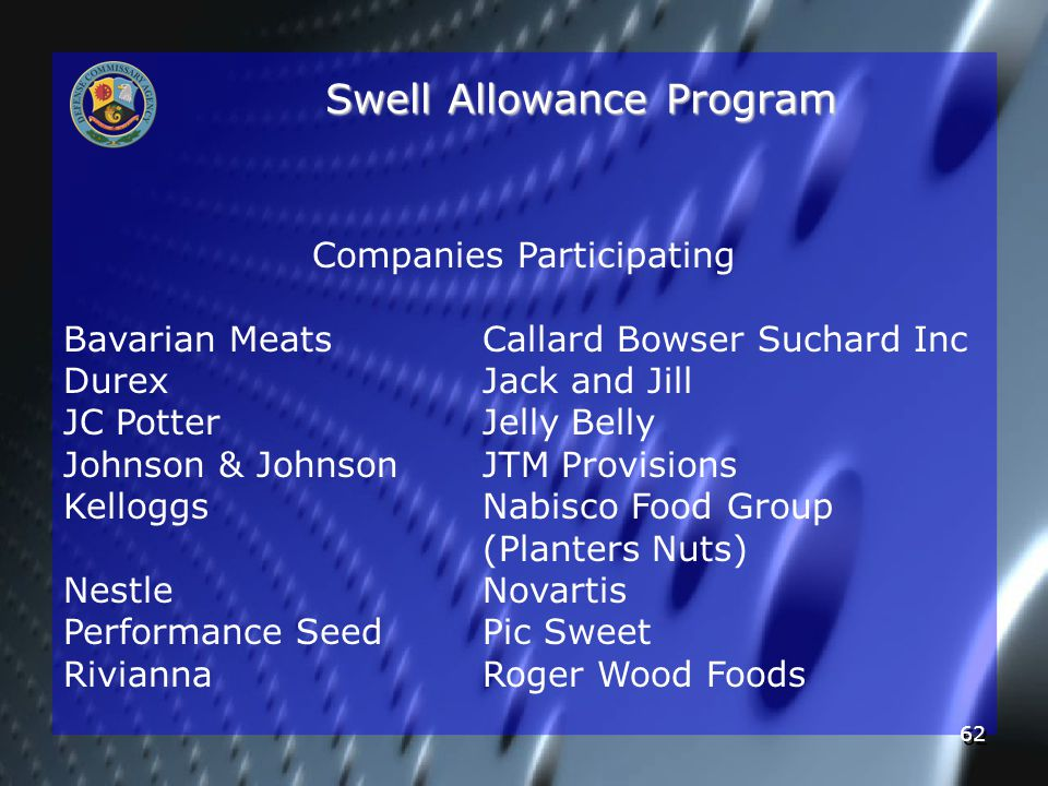 62 Swell Allowance Program Companies Participating Bavarian MeatsCallard Bowser Suchard Inc DurexJack and Jill JC PotterJelly Belly Johnson & JohnsonJTM Provisions KelloggsNabisco Food Group (Planters Nuts) NestleNovartis Performance SeedPic Sweet RiviannaRoger Wood Foods