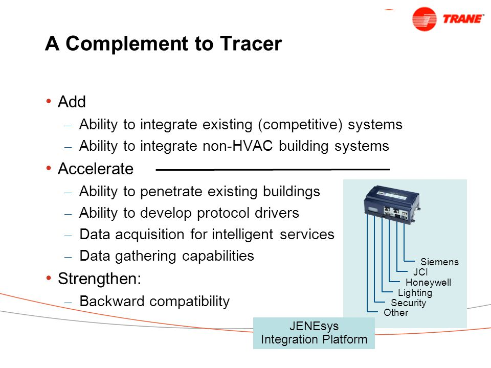 A Complement to Tracer Add – Ability to integrate existing (competitive) systems – Ability to integrate non-HVAC building systems Accelerate – Ability to penetrate existing buildings – Ability to develop protocol drivers – Data acquisition for intelligent services – Data gathering capabilities Strengthen: – Backward compatibility Siemens JCI Honeywell JENEsys Integration Platform Lighting Security Other