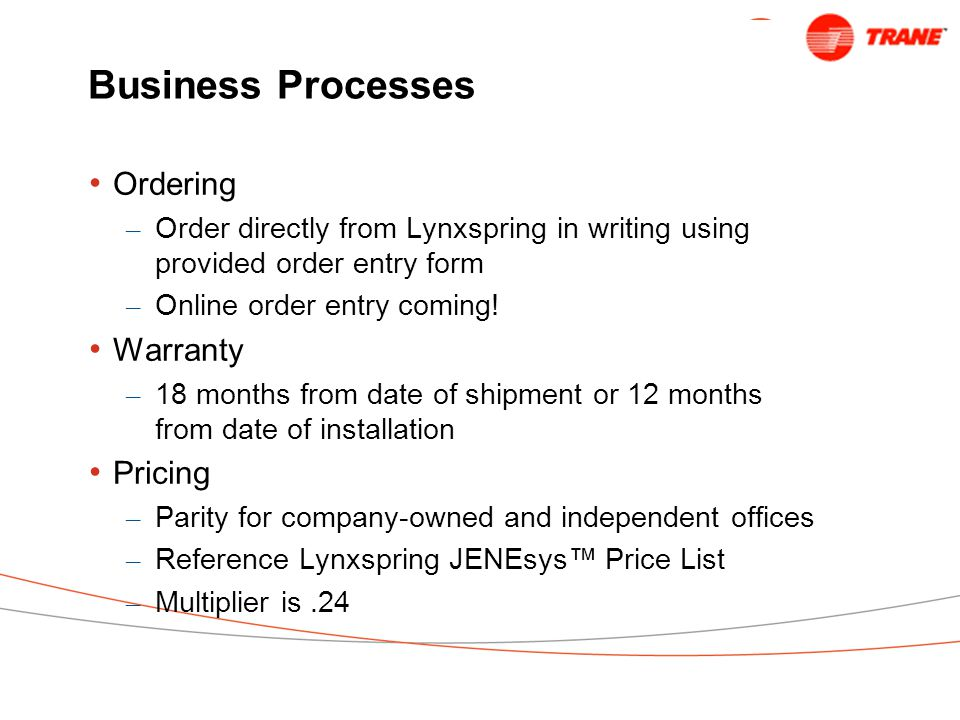 Business Processes Ordering – Order directly from Lynxspring in writing using provided order entry form – Online order entry coming.