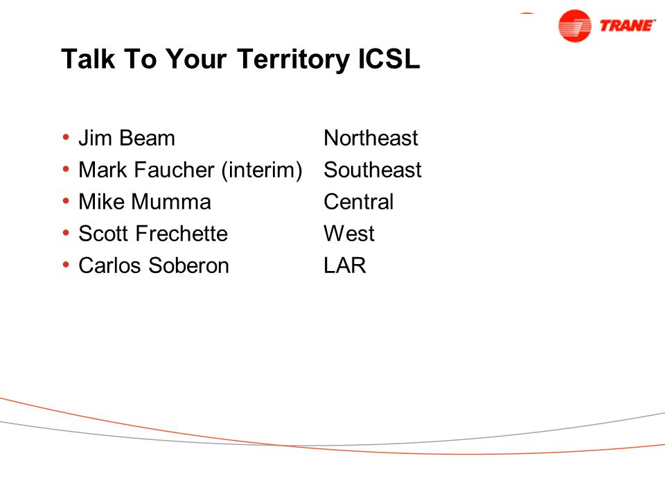 Talk To Your Territory ICSL Jim Beam Northeast Mark Faucher (interim)Southeast Mike MummaCentral Scott FrechetteWest Carlos SoberonLAR