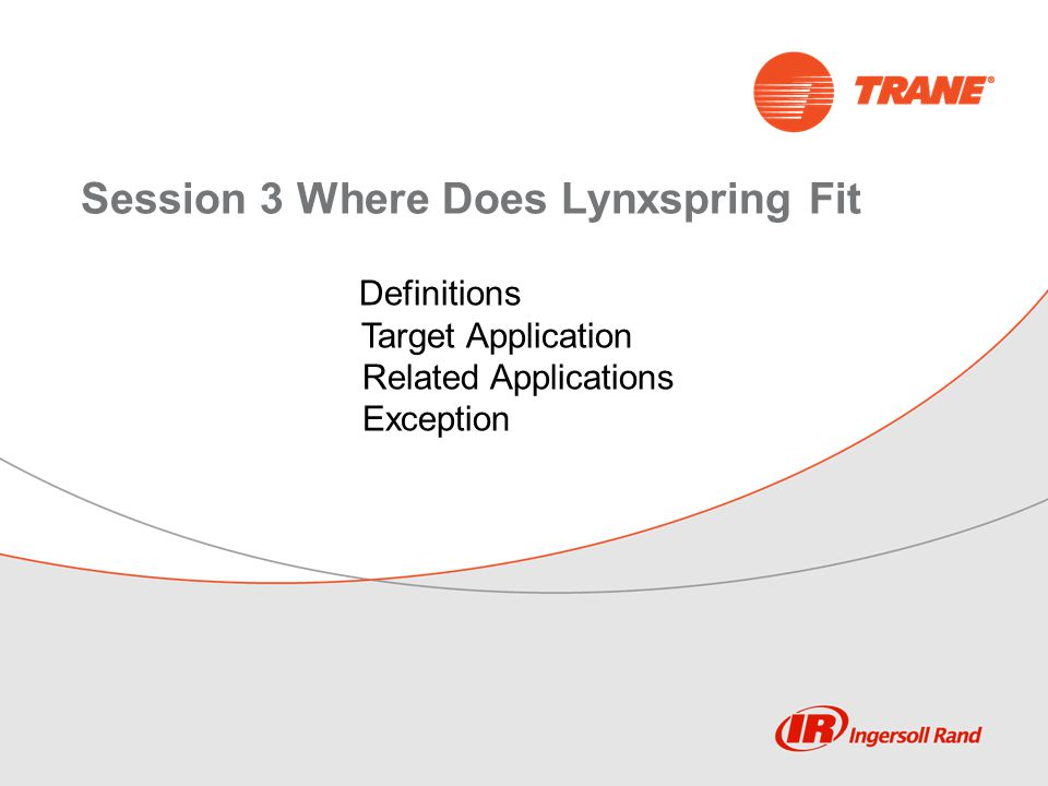 Session 3 Where Does Lynxspring Fit Definitions Target Application Related Applications Exception