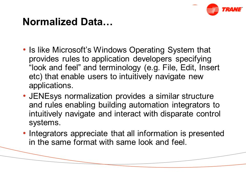 Normalized Data… Is like Microsoft's Windows Operating System that provides rules to application developers specifying look and feel and terminology (e.g.