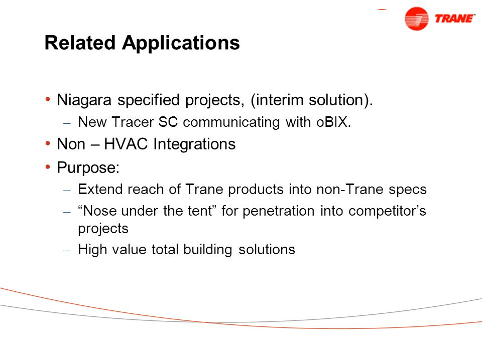 Related Applications Niagara specified projects, (interim solution).