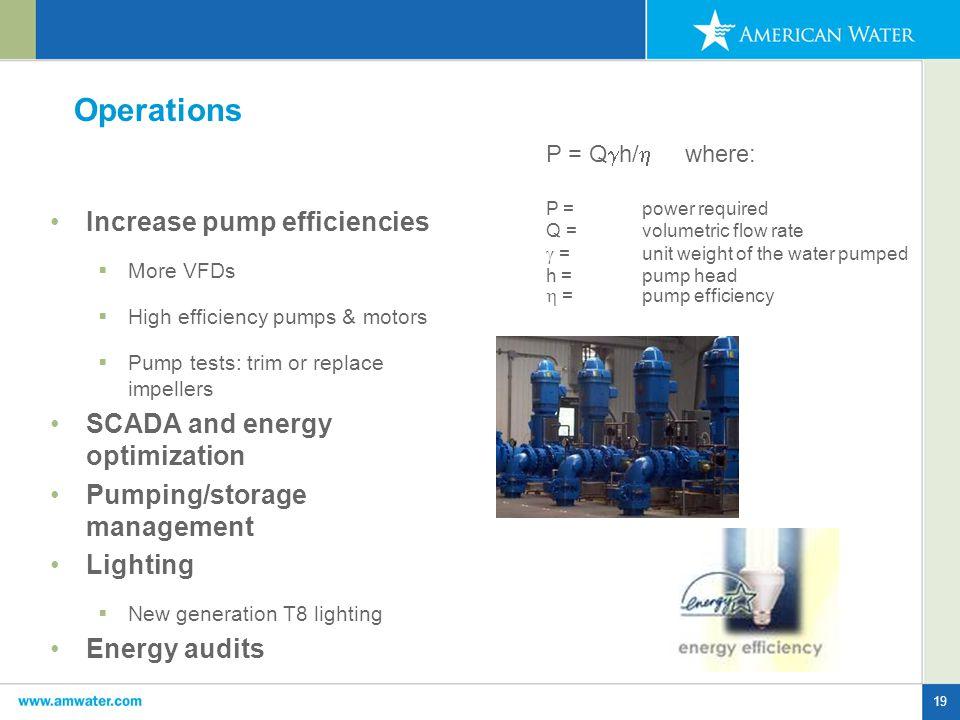 19 Operations Increase pump efficiencies  More VFDs  High efficiency pumps & motors  Pump tests: trim or replace impellers SCADA and energy optimiz