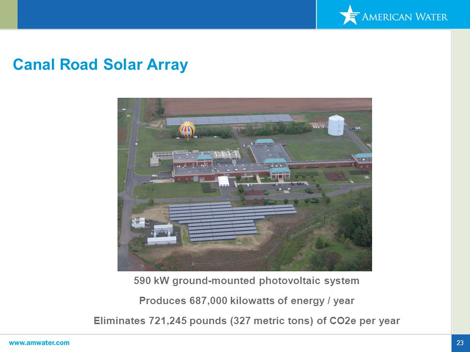 23 Canal Road Solar Array 590 kW ground-mounted photovoltaic system Produces 687,000 kilowatts of energy / year Eliminates 721,245 pounds (327 metric tons) of CO2e per year