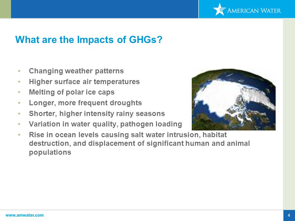 4 What are the Impacts of GHGs? Changing weather patterns Higher surface air temperatures Melting of polar ice caps Longer, more frequent droughts Sho
