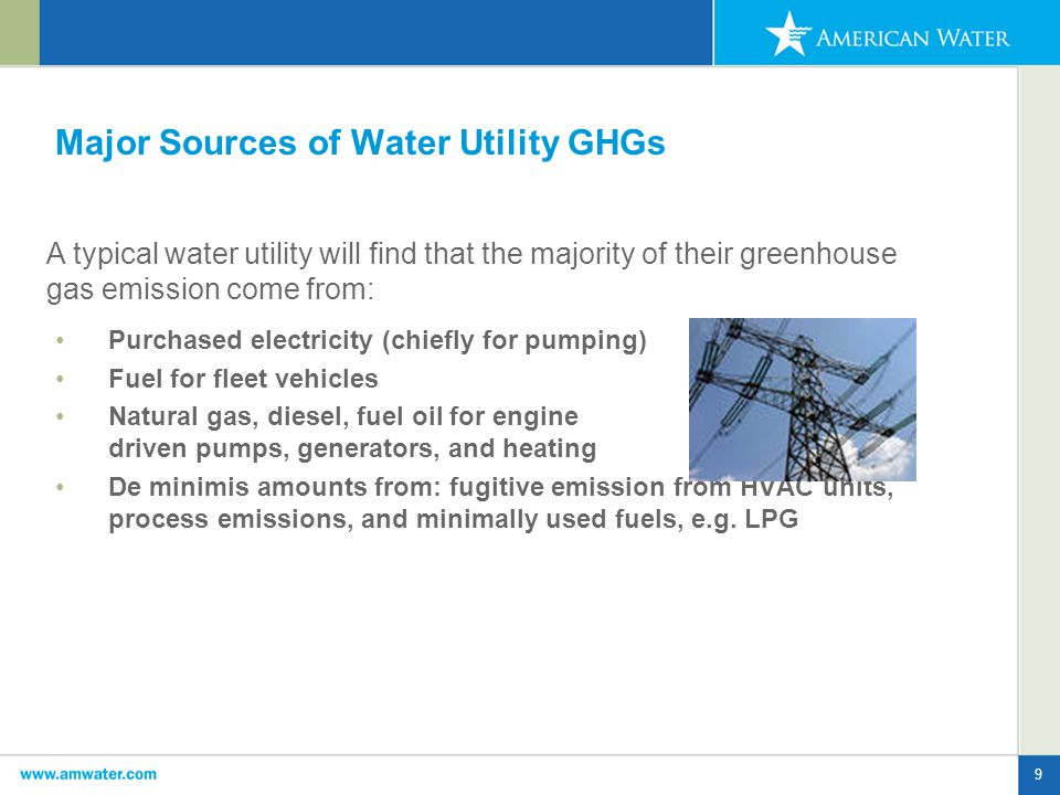 9 Major Sources of Water Utility GHGs Purchased electricity (chiefly for pumping) Fuel for fleet vehicles Natural gas, diesel, fuel oil for engine driven pumps, generators, and heating De minimis amounts from: fugitive emission from HVAC units, process emissions, and minimally used fuels, e.g.