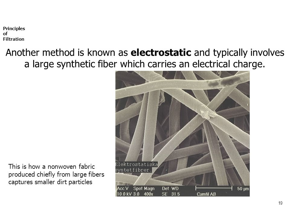 19 Principles of Filtration Another method is known as electrostatic and typically involves a large synthetic fiber which carries an electrical charge