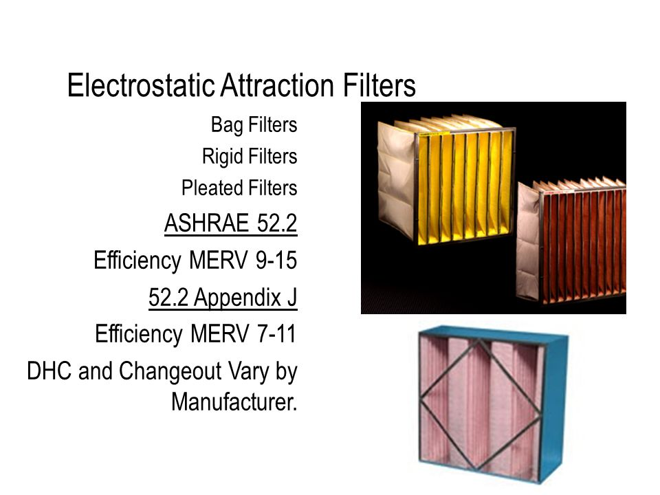 Electrostatic Attraction Filters Bag Filters Rigid Filters Pleated Filters ASHRAE 52.2 Efficiency MERV 9-15 52.2 Appendix J Efficiency MERV 7-11 DHC and Changeout Vary by Manufacturer.