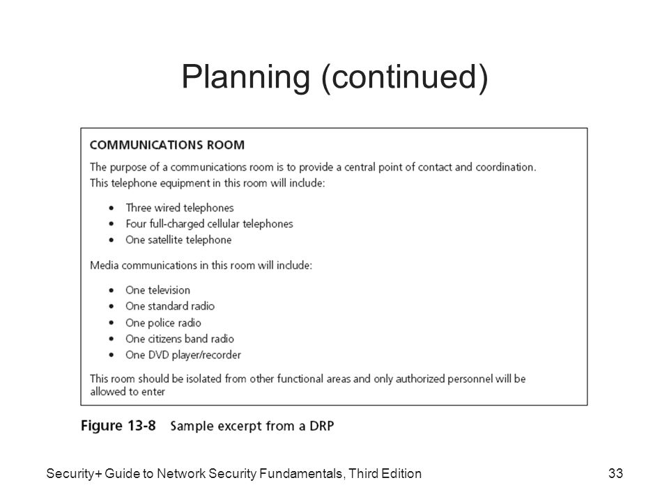 Security+ Guide to Network Security Fundamentals, Third Edition33 Planning (continued)