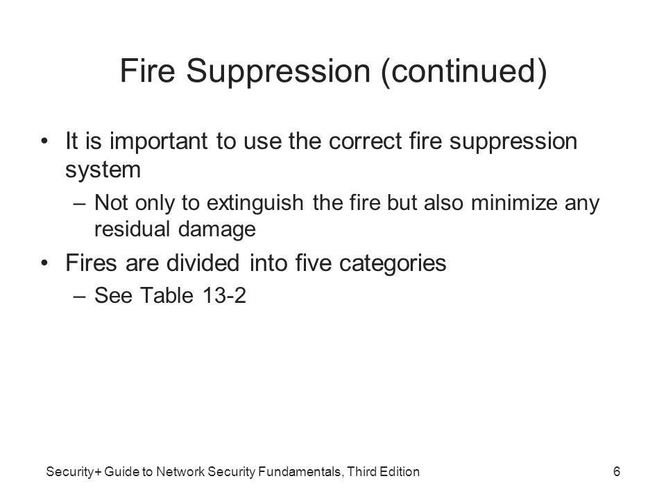 Security+ Guide to Network Security Fundamentals, Third Edition Fire Suppression (continued) It is important to use the correct fire suppression syste