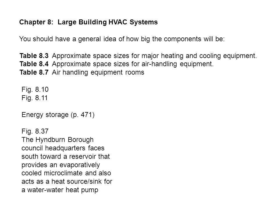 Chapter 8: Large Building HVAC Systems You should have a general idea of how big the components will be: Table 8.3 Approximate space sizes for major heating and cooling equipment.