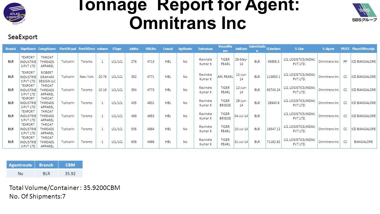 SeaExport Tonnage Report for Agent: Omnitrans Inc BranchShprNameConsgNamePortOfLoadPortOfDestvolumeSTypeJobNoHBLNoConsolAgtRouteSalesman VesselNa me JobDate SalesStatio n O.InvAmtS-LineS-AgentPP/CCPlaceOfReceipt BLR TEXPORT INDUSTRIE S PVT LTD THROAT THREADS APPAREL TuticorinToronto1LCL/LCL2764713HBLNo Ravindra Kumar K TIGER PEARL 29-May- 14 BLR45856.3 LCL LOGISTICS(INDIA) PVT.LTD.