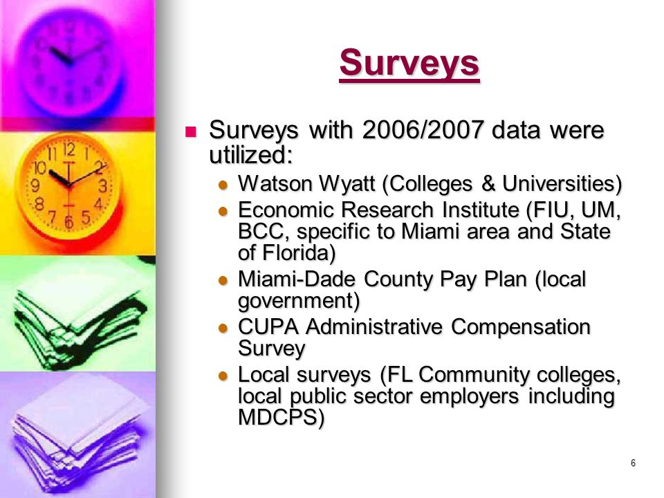 6 Surveys Surveys with 2006/2007 data were utilized: Surveys with 2006/2007 data were utilized: Watson Wyatt (Colleges & Universities) Watson Wyatt (Colleges & Universities) Economic Research Institute (FIU, UM, BCC, specific to Miami area and State of Florida) Economic Research Institute (FIU, UM, BCC, specific to Miami area and State of Florida) Miami-Dade County Pay Plan (local government) Miami-Dade County Pay Plan (local government) CUPA Administrative Compensation Survey CUPA Administrative Compensation Survey Local surveys (FL Community colleges, local public sector employers including MDCPS) Local surveys (FL Community colleges, local public sector employers including MDCPS)