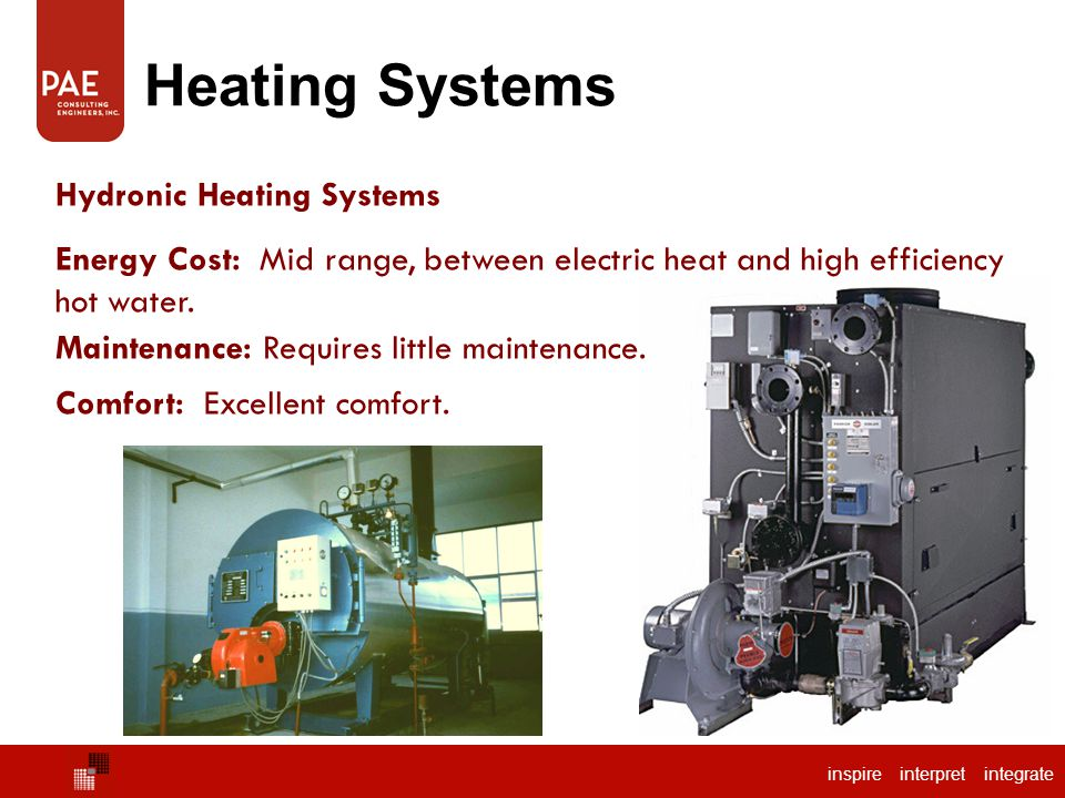 inspire interpret integrate Heating Systems Hydronic Heating Systems Energy Cost: Mid range, between electric heat and high efficiency hot water. Main