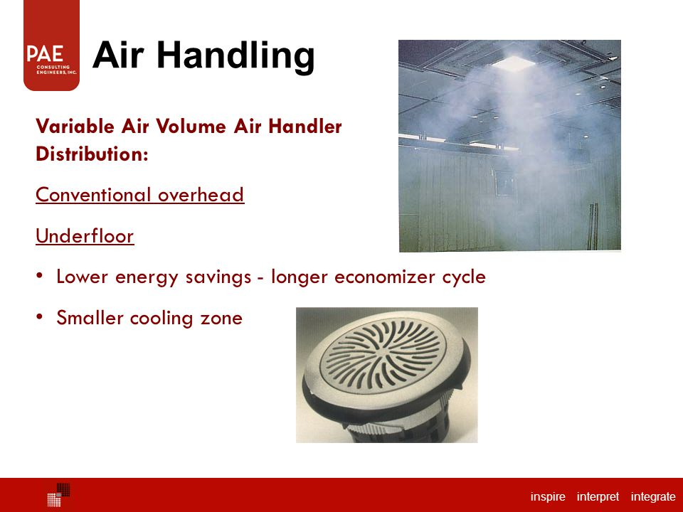 inspire interpret integrate Air Handling Package Air Handler Variable Air Volume Air Handler Distribution: Conventional overhead Underfloor Lower energy savings - longer economizer cycle Smaller cooling zone