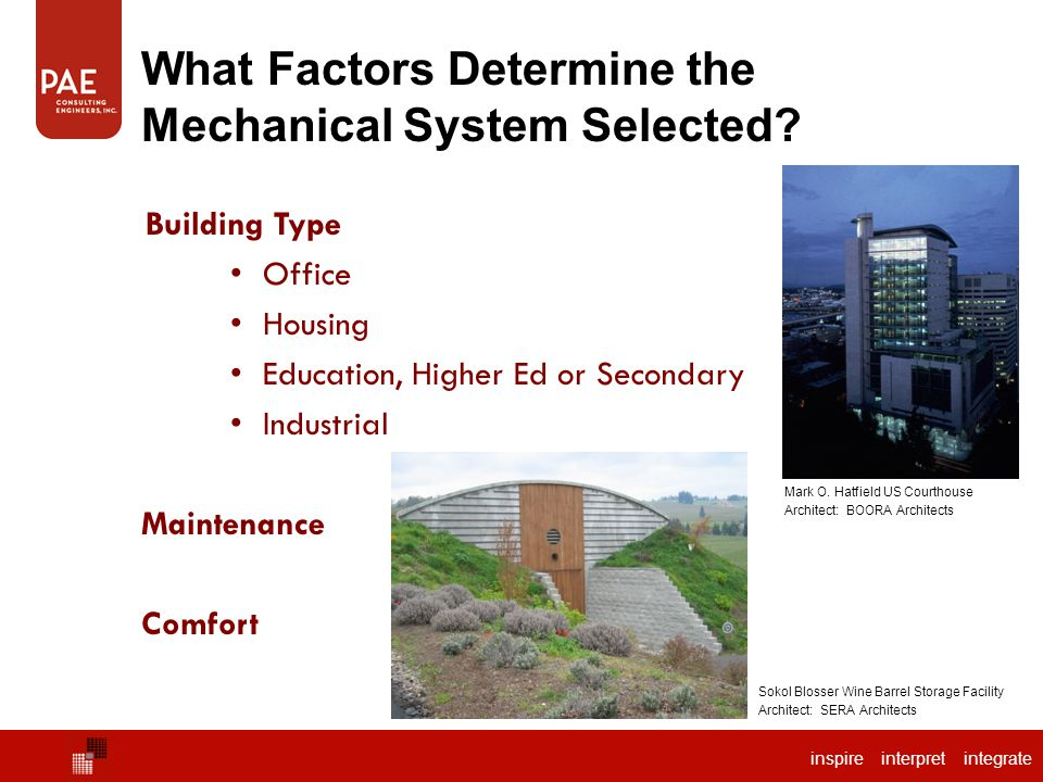 inspire interpret integrate What Factors Determine the Mechanical System Selected? Building Type Office Housing Education, Higher Ed or Secondary Indu