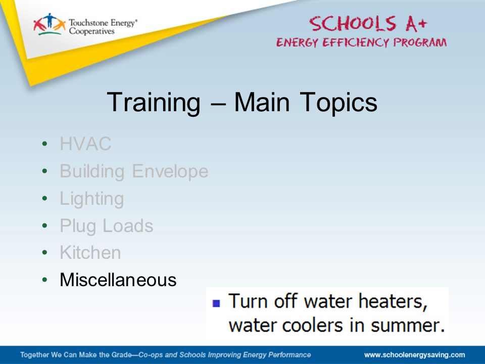 HVAC Building Envelope Lighting Plug Loads Kitchen Miscellaneous Training – Main Topics