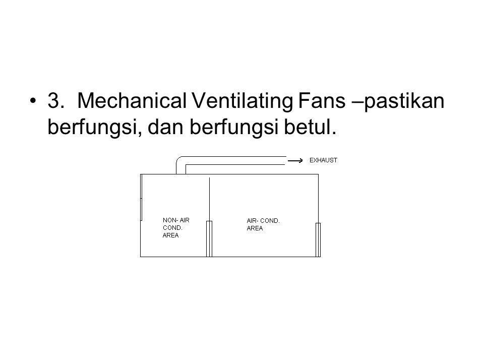 3. Mechanical Ventilating Fans –pastikan berfungsi, dan berfungsi betul.