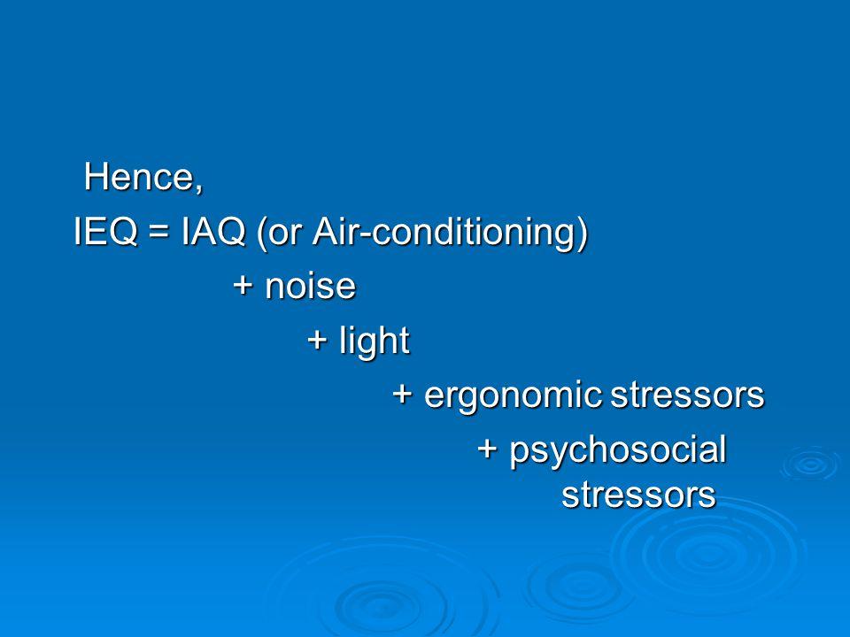 Hence, IEQ = IAQ (or Air-conditioning) IEQ = IAQ (or Air-conditioning) + noise + noise + light + ergonomic stressors + psychosocial stressors