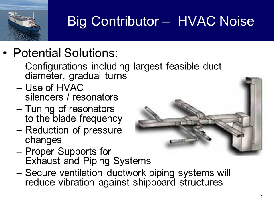 13 Big Contributor – HVAC Noise Potential Solutions: –Configurations including largest feasible duct diameter, gradual turns –Use of HVAC silencers / resonators –Tuning of resonators to the blade frequency –Reduction of pressure changes –Proper Supports for Exhaust and Piping Systems –Secure ventilation ductwork piping systems will reduce vibration against shipboard structures