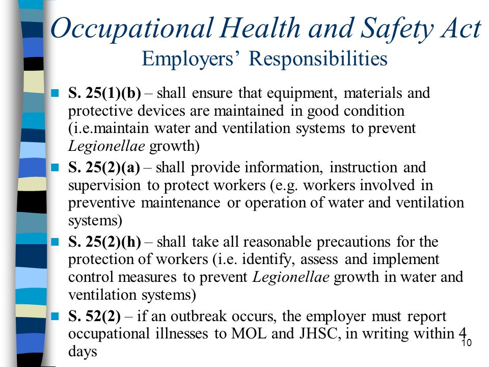 10 Occupational Health and Safety Act Employers' Responsibilities S.