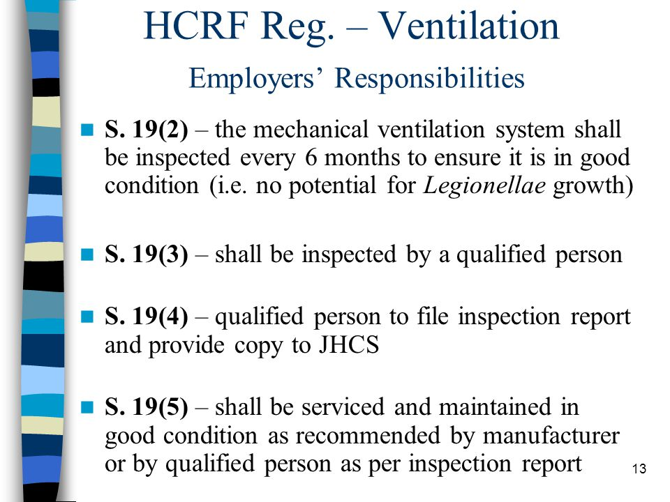 14 MOL Health and Safety Guideline: Ventilation Inspection and Records for Health Care and Residential Facilities Requirements re: section 19 of HCRF Reg.