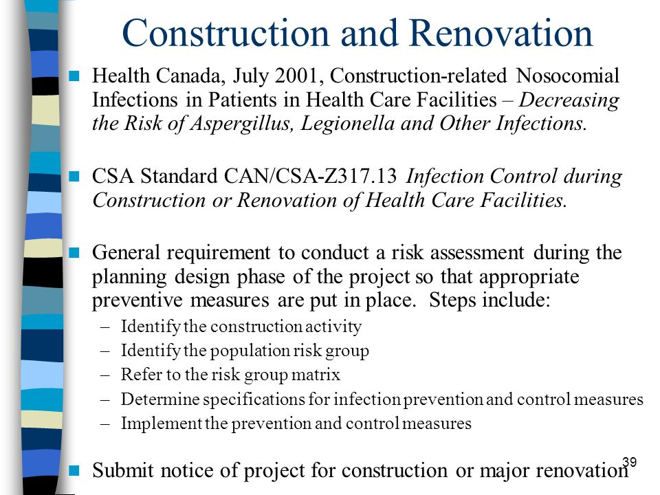 40 Other Relevant Standards Ontario Building Code –Ventilation and Plumbing Requirements CSA Standard CAN/CSA-Z317.1-99.