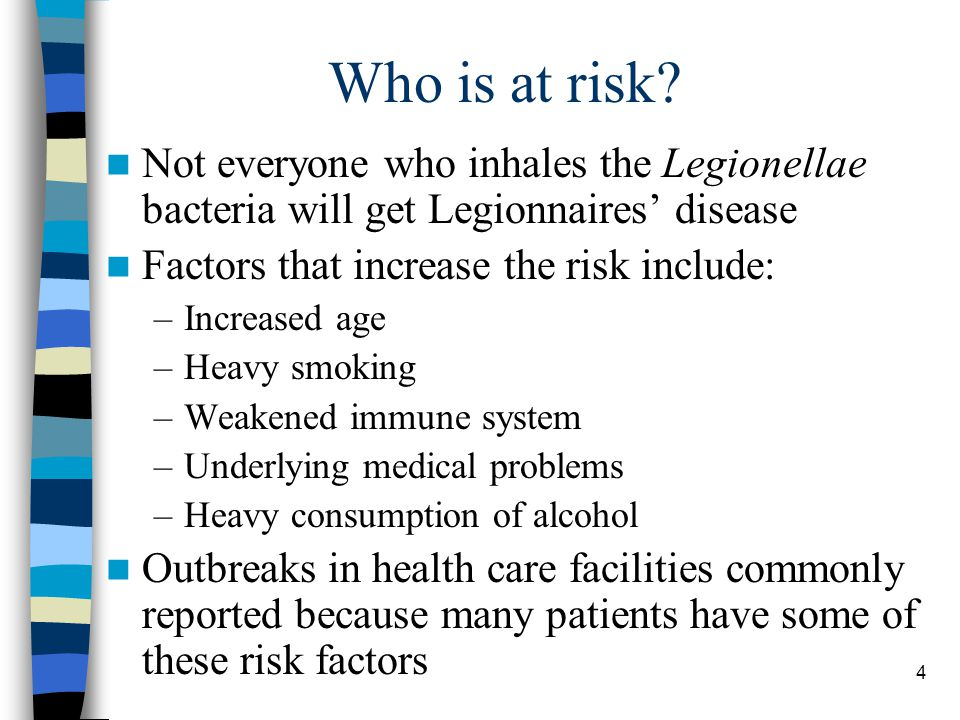 5 Sources of Legionellae Legionellae bacteria have been isolated from or outbreaks have been associated with: –Water mist from cooling towers or evaporative condensers –Humidifiers and grocery produce misters –Hot and cold potable water distribution systems –Hot tubs, spa baths and decorative fountains –Non-potable water cooling systems