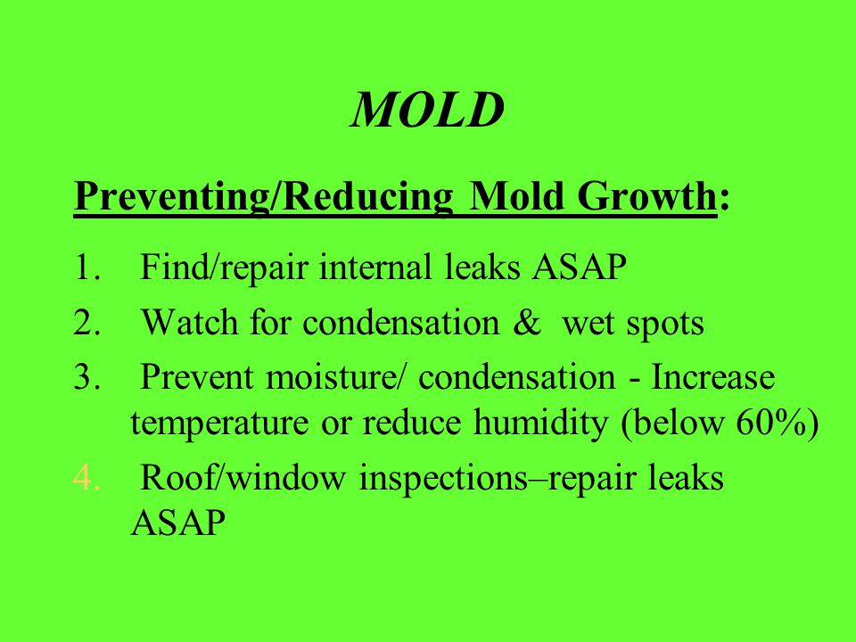 MOLD Preventing/Reducing Mold Growth: 1. Find/repair internal leaks ASAP 2. Watch for condensation & wet spots 3. Prevent moisture/ condensation - Inc