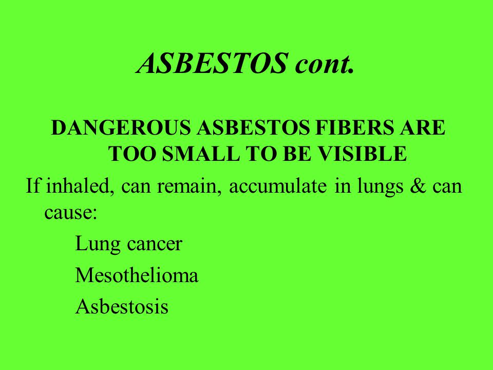 ASBESTOS cont. DANGEROUS ASBESTOS FIBERS ARE TOO SMALL TO BE VISIBLE If inhaled, can remain, accumulate in lungs & can cause: Lung cancer Mesothelioma