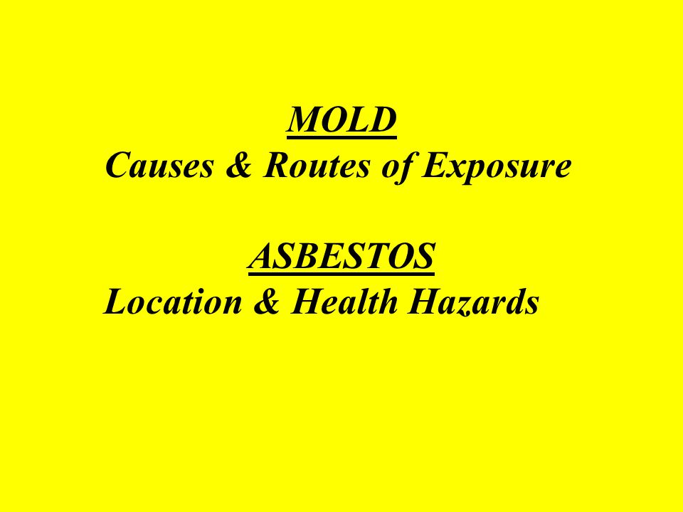 MOLD Causes & Routes of Exposure ASBESTOS Location & Health Hazards