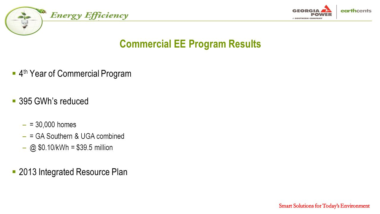 Commercial EE Program Results  4 th Year of Commercial Program  395 GWh's reduced –= 30,000 homes –= GA Southern & UGA combined –@ $0.10/kWh = $39.5