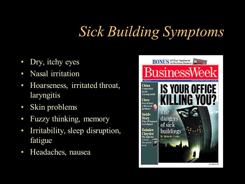 Sick Building Symptoms Dry, itchy eyes Nasal irritation Hoarseness, irritated throat, laryngitis Skin problems Fuzzy thinking, memory Irritability, sleep disruption, fatigue Headaches, nausea