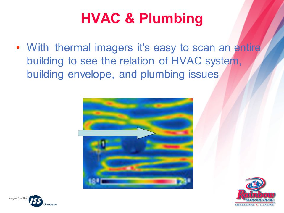 HVAC & Plumbing With thermal imagers it s easy to scan an entire building to see the relation of HVAC system, building envelope, and plumbing issues