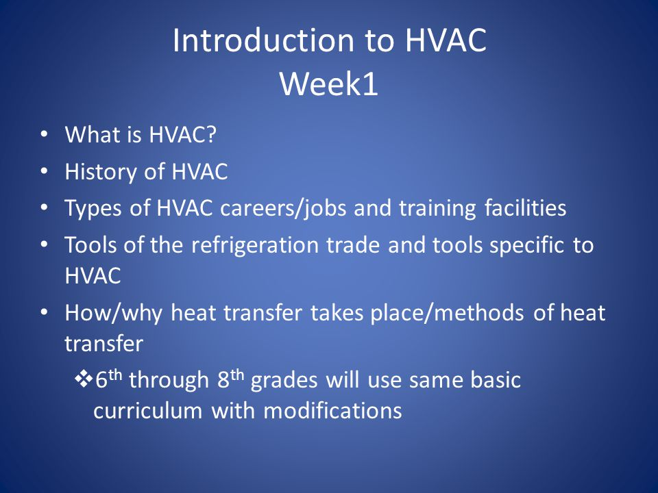 Week 2 Understanding the refrigeration cycle and how it changes state in an HVAC system Primary parts of the system and their purpose (evaporator, condenser, compressor, metering device, tubing) Secondary parts of the HVAC system (electronic and mechanical equipment that controls the primary parts)  6 th -8 th grades will use same curriculum with modifications